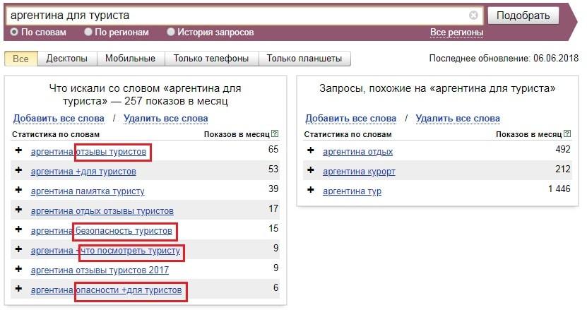 Поиск в Яндекс.Вордстат